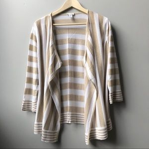 Chico's Open Front Cardigan White Gold Stripe XL 3
